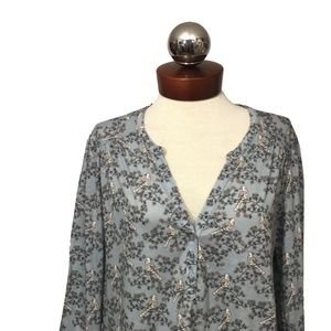 H&M Blue Bird Floral Print Stretch Top popover L